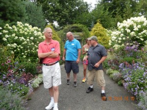 George giving a tour of one of the gardens in full bloom. With Dave, Tim & Ann